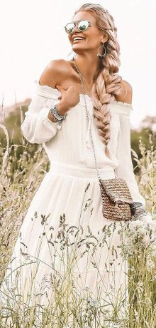 Damen - Carmen-Kleid - bunt gemustert