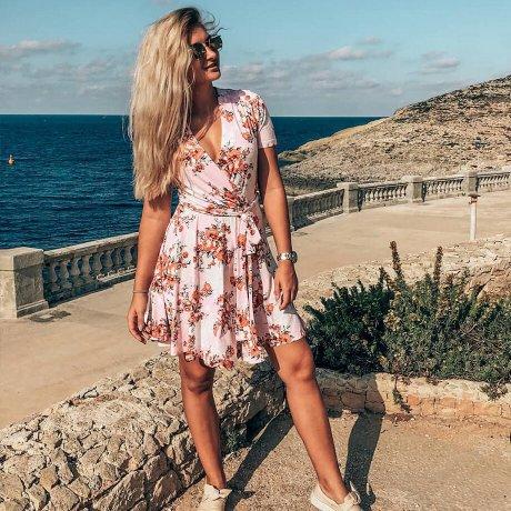 Damen - Jerseykleid in Wickeloptik - rosa geblümt