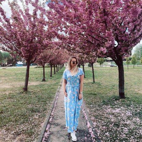 Damen - Maite Kelly Kleid mit Blumen - perlblau geblümt