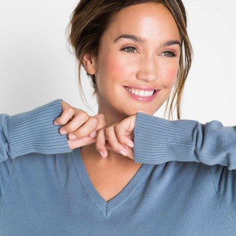Damen - V-Pullover - mattblau