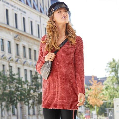 Damen - Chenille-Pullover mit Schnürung - rauchhimbeere