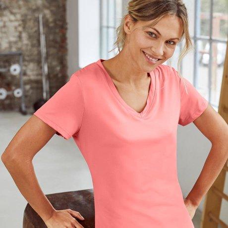 Damen - Sport-Shirt, 2er-Pack, kurzarm - rauchkoralle/schwarz