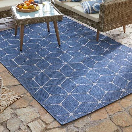 Wohnen & Möbel - In- und Outdoor Teppich mit grafischem Muster - blau