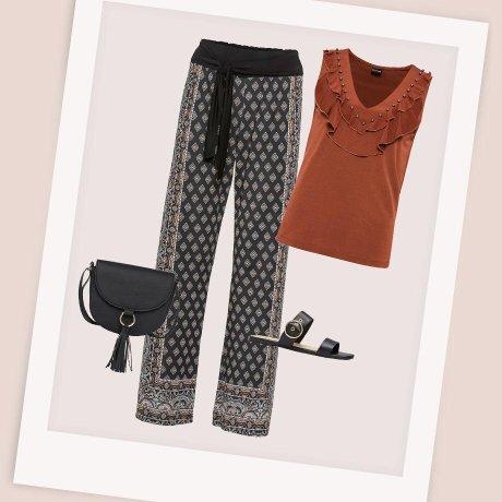 Damen - Jersey-Hose - schwarz/braun gemustert