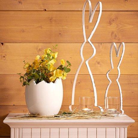 Wohnen & Möbel - Teelichthalter in Hasen-Form (2-tlg.Set) - antikweiß