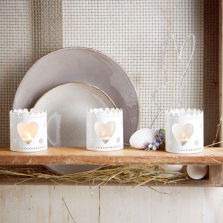 Wohnen & Möbel - Teelichthalter mit Herz (3er Pack) - weiß