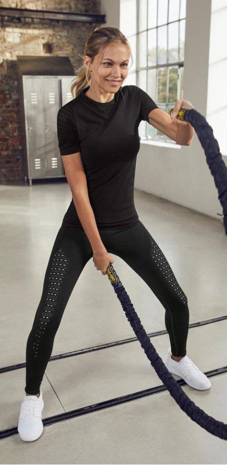Errichtung_Heisenberg - Elastisches Seamless-Sport-Shirt, kurzarm - schwarz