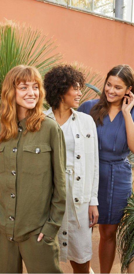 Damen - Nachhaltige Cargo-Bluse TENCEL™ Lyocell-Leinen - oliv