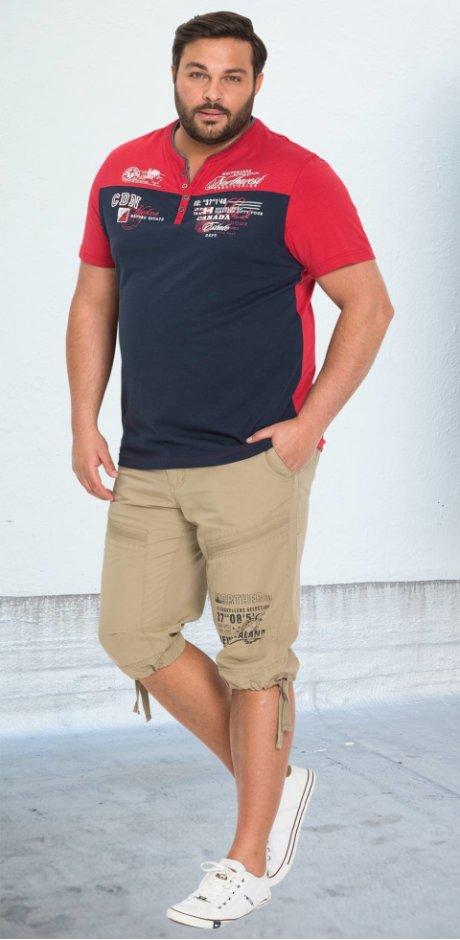 Herren - T-Shirt in 2-in-1-Optik - dunkelblau/rot