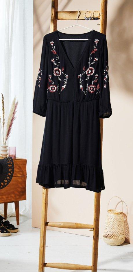 Damen - Tunika-Kleid mit Stickerei - schwarz