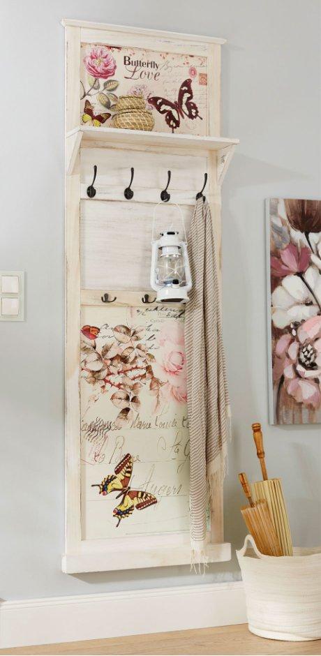 Wohnen & Möbel - Garderobenpaneel mit Schmetterling-Design - weiß