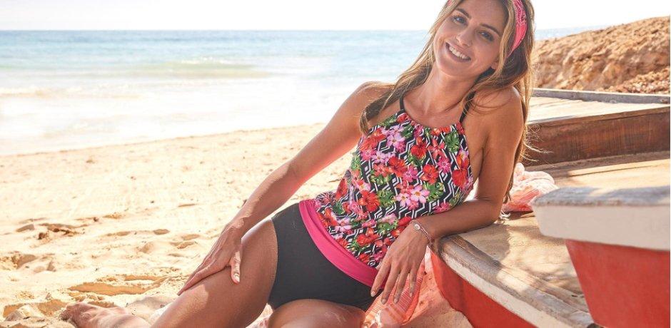 Damen - Badeanzug - pink bedruckt