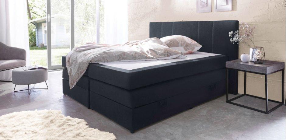 Wohnen & Möbel - Boxspringbett 180x200cm - schwarz