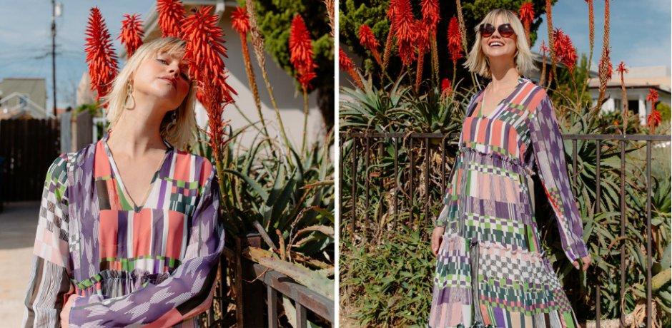 Damen - Kleid im Chiffonlook - rosa/grün gemustert