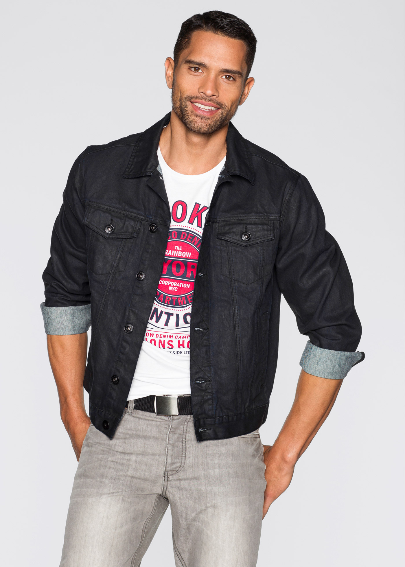 Veste en jean Regular Fit, RAINBOW, noir