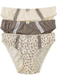 Slip (3er-Pack), bpc bonprix collection, bedruckt + taupe + champagner