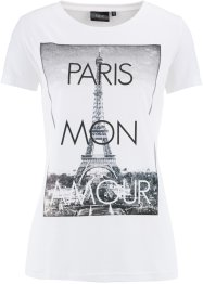"Shirt, Kurzarm, bpc bonprix collection, weiß bedruckt ""Paris"""