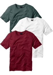 T-Shirt (3er-Pack), Regular Fit, bpc bonprix collection, bordeaux+dunkelgrün+weiß