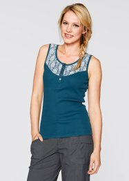 Top mit Spitze, bpc bonprix collection, blaupetrol