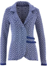 Trachten-Strickjacke, bpc bonprix collection, mitternachtsblau/weiß