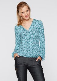 Stretch-Wickelshirt, langarm, bpc bonprix collection, marsalabraun bedruckt
