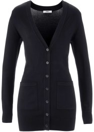 Long-Strickjacke, bpc bonprix collection, schwarz