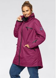 Funktions-Outdoorlangjacke mit Kapuze in 2-in-1-Optik, bpc bonprix collection, beere