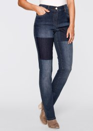 Stretch-Jeans designt von Maite Kelly, bpc bonprix collection, blue stone used mit Flicken