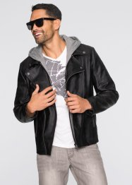 Blouson motard simili cuir Regular Fit, RAINBOW, noir/gris chiné