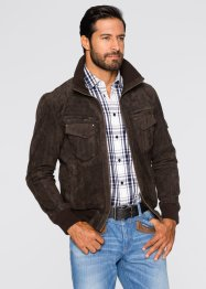 Blouson cuir velours Regular Fit, John Baner JEANSWEAR, marron foncé