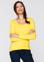 Basic Baumwollshirt Stretch-Jersey, bpc bonprix collection, tulpengelb