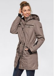 Outdoor-Langjacke mit Kapuze, bpc bonprix collection, neutralgrau