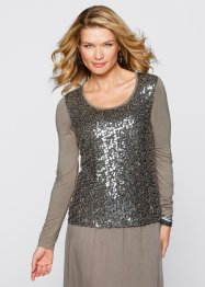 Top blouse à paillettes, bpc selection, taupe
