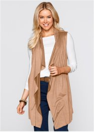 Gilet long sans manches en suédine, bpc bonprix collection, cappuccino