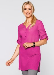 Crinkle-Long-Bluse mit 3/4-Ärmeln, bpc bonprix collection, mittelfuchsia