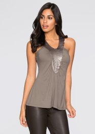 Top mit Pailletten, BODYFLIRT, taupe