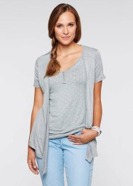 2in1 Shirt mit Halbarm, bpc bonprix collection, grau meliert/mentholblau gepunktet