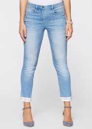 Premium 7/8-Stretchjeans mit Stickerei, bpc selection premium, blue bleached