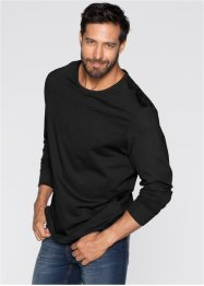 Lot de 3 T-shirts manches longues Regular Fit, bpc bonprix collection, anthracite chiné + gris clair chiné + noir