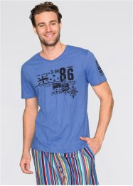 T-shirt col V Regular Fit, bpc bonprix collection, bleu