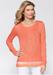 Pullover mit Spitze, bpc selection, lachs