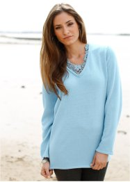 Long-Pullover mit Spitze, bpc selection, eisblau
