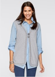 Gilet long sans manches, bpc bonprix collection, gris clair chiné