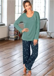 Pyjama, bpc bonprix collection, petrol/dunkelblau bedruckt