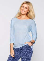Vokuhila- Shirt, 3/4 Arm - designt von Maite Kelly, bpc bonprix collection, hellblau