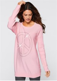 Long-Pullover mit Peace-Dekosteinapplikation, bpc selection, puderrosa