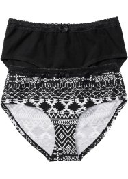 Panty (2er-Pack), bpc bonprix collection, bedruckt + schwarz