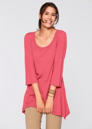Ribbad topp, 3/4-ärm, bpc bonprix collection, ljus pink