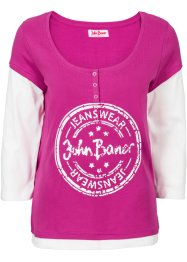 3/4-Arm-Shirt in 2-in-1-Optik, John Baner JEANSWEAR, fuchsia/wollweiß