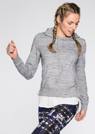 Sweatshirt, 2 in 1-Optik, bpc bonprix collection, hellgrau meliert